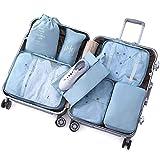 GAGP Bolsa de Aseo 7 UNIDS Packing Cubes Set para Viajes Equipaje Organizador Bolsa Bolsas de Compresión Ropa Maleta (Color : Beige, Size : Free Size)