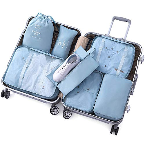 ROGF Travel Storage Bag 7PCS Packing Cubes Set For Travel Luggage Organiser Bag Compression Pouches Clothes Suitcase For travel (Color : Blue, Size : Free Size)