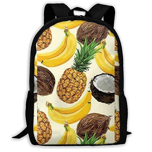 ADGBag Coconut Pineapple Fashion Outdoor Shoulders Bag Durable Travel Camping for Kids Backpacks Shoulder Bag Book Scholl Travel Backpack Sac à Dos pour Enfants