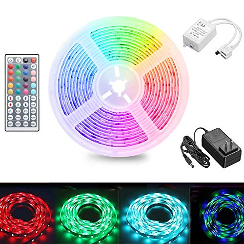LED Strip Lights 16.4 Ft 2835 RGB Flexible Color Changing Full Kit with RF Mini Controller, LED Light Kits with 44-Key Remote Controller & Power Supply for Decoration