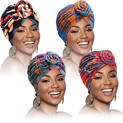 SATINIOR 4 Pieces African Pattern Headwrap Pre-Tied Bonnet Turban Knot Beanie Cap Hat (Flower)