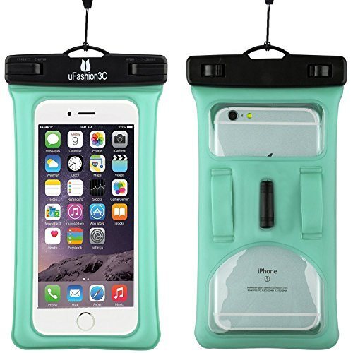 uFashion3C [Floating] Waterproof Cell Phone Case Dry Bag Pouch [With Headphone Jack,Armband,Lanyard] for iPhone 7,6,6S,6 Plus,6S Plus, Samsung Galaxy S8,Plus,S7,S6,Edge,Note 3,4,5,8, LG G5,G6 (Green)
