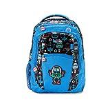 Nuby Trendz Kids Large Backpack, Robots Mochila Infantil, 39 cm, 10 Liters, Azul (Blue, Multicoloured)