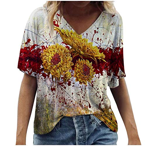 Womens Short Sleeve Summer Tops Casual V Neck Tshirts Fashion Flower Print Blouse Loose Tunic Tops Plus Size for Ladies