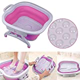 Sinbide Masajeador SPA para Pies Baño para su Relajación y Rejuvenecimiento Bañera de Pies Goma Cucharón con Burbujas Azul Rosa Plegable (Rosa)