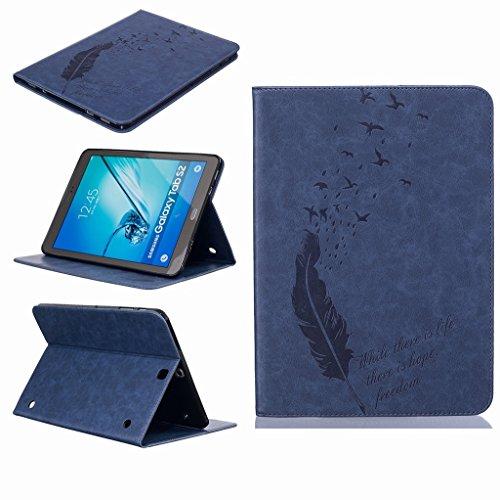 Yiizy Cover voor Samsung Galaxy Tab S2 T810 T815 Case, veren zwaluwen Premium lederen Slim Fit Stand Beschermende ID & Credit Card Slots Magnetische portemonnee Pouch Flip Cover Case (Deep Blue)