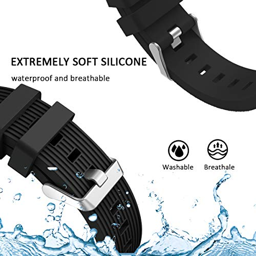 SPGUARD Armband Kompatibel mit Galaxy Watch 3 Armband 45mm, Weiches Silikonarmband Sport Ersatzarmband für Samsung Galaxy Watch 3 45mm(Schwarz)