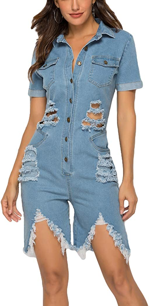 Chowsir Women Summer Casual Fashion Hole Denim Jeans Jumpsuits Over item handling ☆ Romper Bo