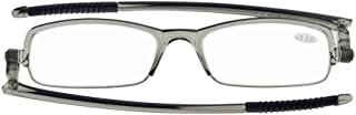 Eyekepper 360。 Foldable Temples Reading Glasses With Transparent Case Men Women (Grey Frame, 0.75)