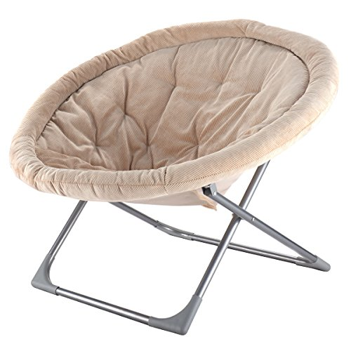 Giantex Oversized Large Folding Saucer Moon Chair Corduroy Round Seat Living Room (Beige)