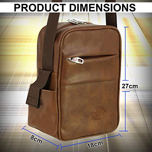 Storite Stylish PU Leather Sling Cross Body Travel Office Business Messenger One Side Shoulder Bag for Men Women (18x8x27cm) (Coffee Brown)