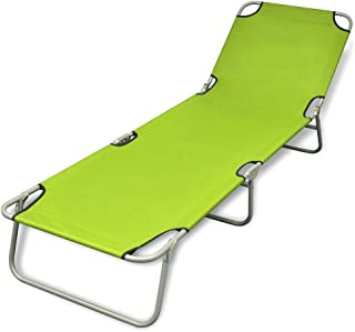 Outdoor Folding Recliner Sun Bed Lounge Pool Beach Chair Sunbake Green Adjust