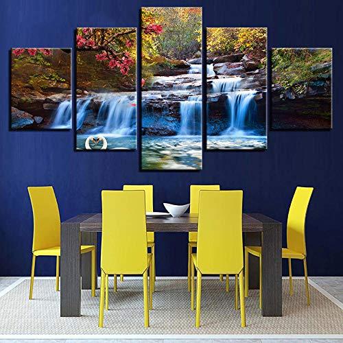 IOIUG Impresión 3D Lienzo Moderno HD Pintura Arte Pared Cartel 5 Paneles Agua del Grifo Paisaje Imagen decoración del hogar Sala de Estar-No Frame