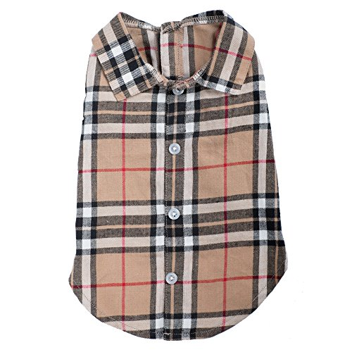 The Worthy Dog Tan Plaid Shirt, Tan, L