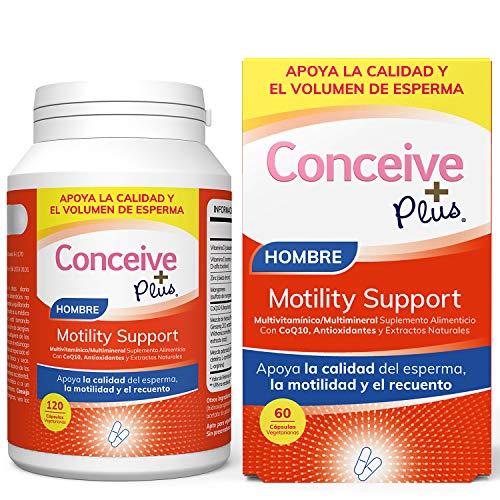 Conceive Plus Soporte de Motilidad, Aumenta el Volumen y el Conteo, Zinc Ashwagandha CoQ10 Vitamina E y Selenio, 60 cápsulas