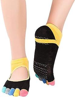 SGJFZD 3pairs/Pack Backless Yoga Socks Women's Professional Yoga Studio Digging Hole Digging Non-Slip Silicone Yoga Five-Finger Socks Toe Socks, Color Randomly Sent (Color : Random)