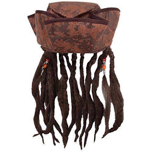 Deguisement Chapeau de Pirates des caraibes marron avex cheveux attaches