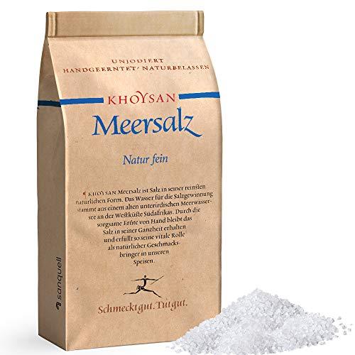 Sanquell GmbH Khoysan Meersalz 1kg Natur fein | naturbelassen und rein | handgeerntet | frei von Zusätzen | eines der besten Salze der Welt | 1kg Nachfüllbeutel