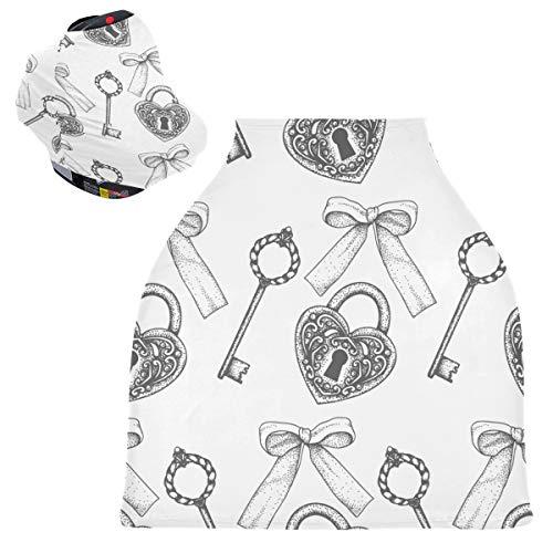 Sinestour Key Lock - Fundas para asiento de coche para bebé, funda para silla alta, bufanda elástica de enfermería, toldo multiusos