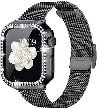 Goton Compatible with Apple Watch Band 38mm 40mm 42mm 44mm with Bling Case for Women Girls Thin product image