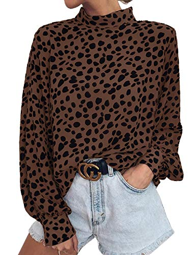 Valphsio Womens Long Sleeve Turtleneck Blouse Leopard Print Loose Nightout Shirt Tops Brown