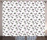 ABAKUHAUS japonés Cortinas, Origami geométrica, Sala de Estar Dormitorio Cortinas Ventana Set de Dos Paños, 280 x 260 cm, Rosa Verde Gris carbón