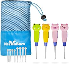 KleanEars بچه گانه ابزار پاک کننده Earwax کودک بی خطر 4 قطعه چراغ روشنایی گوش انتخاب قاشق پاک کننده موی گوش مومی