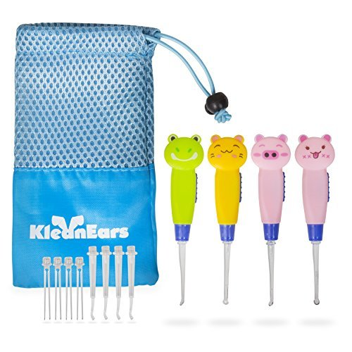 KleanEars Kids Earwax Remover Tool Baby Safe 4 Pcs LED Lighting Ear Pick Spoon Earwax Remover Curette Tweezer Ear Spoon Cleaning