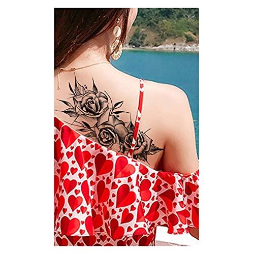 Qqinghan Púrpura Rose Joyería Transferencia de Agua Tatuaje Pegatinas Mujeres Cuerpo Arte Tatuaje Temporal Tatuaje Cintura Pulsera Flash Tatoos Flor (Color : PMZ008)