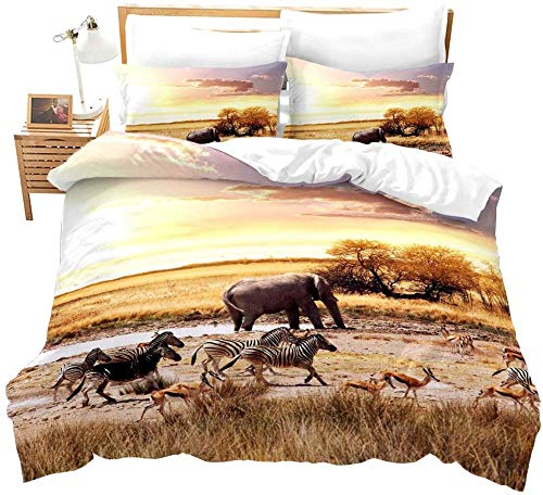 Msortatnl Duvet Cover And Pillowcases Bedding Set (Double) Trees Grass River Water Animal Horse Elephant Zebra Deer Landscape - King (240 X 220 Cm)