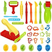 Ucradle Dough Tools Kit, 30 Pcs Clay Dough Tools Play Dough Rollers Cutters Set for Kids Children DIY Plasticine Clay Extruders Creation Kit Playdough Tools Educational Toy Gift Set (Random Color)