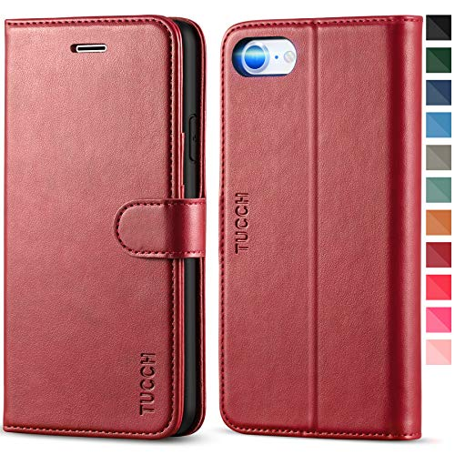 TUCCH iPhone SE 2020 Hülle, iPhone 8 Hülle, Stoßfeste Handyhülle, [Verdicktes TPU] [Kartenfach] [Standfunktion] [Premium Leder], Schutzhülle für iPhone SE2/8/7 (4,7 Zoll) Rot