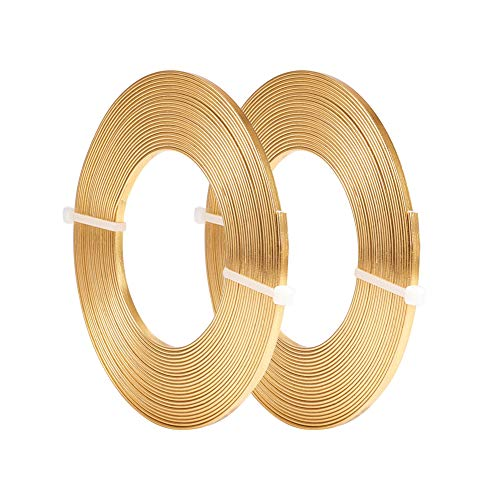 BENECREAT 32 Feet 2 Rolls 3mm Wide Flat Jewelry Craft Wire 18 Gauge Aluminum Wire for Bezel, Sculpting, Armature, Jewelry Making - Gold Color