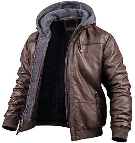 Men's Casual Stand Collar PU Faux Leather Zip-Up Motorcycle Bomber Jacket with a Removable Hood Coffee S