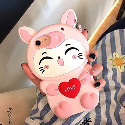 SevenPanda Hülle iPhone 11 Cat, 3D Liebe Lächeln Katze mit niedlichen Schwein Silikon Kasten Abdeckung für iPhone 11 6.1 Zoll - Schweinhut Katze Rose