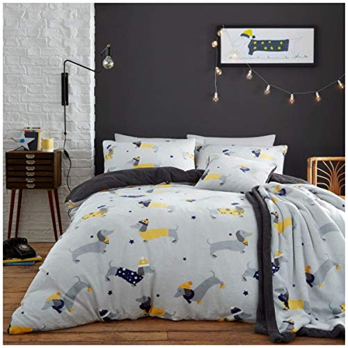 Easy Care Teddy Fleece Dachshund Duvet Cover Set, Quality Super Soft & Cosy Quilt Bed Set, Single Size Bedding, Grey