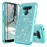 TJS Phone Case Compatible with LG Stylo 6, with [Full Coverage Tempered Glass Screen Protector] Glitter Bling Cute Girls Women Design Dual Layer Heavy Duty Hybrid Cover (Teal)