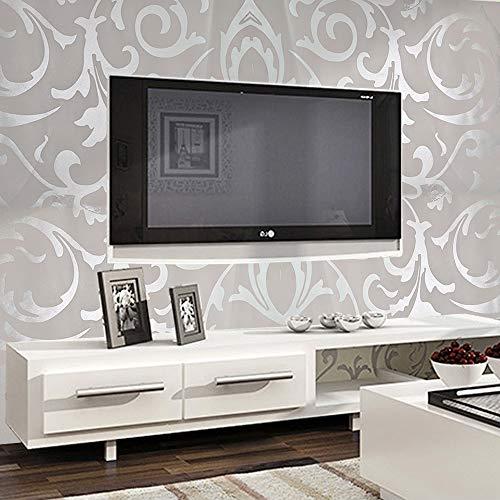 BALLSHOP 3D Vintage Barock Wandtapete Vliestapeten Vliestapete Wand Tapete Optik Grau & Silber für Schlafzimmer Wohnzimmer