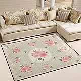 Mnsruu Vintage Teppich mit Rosenblüten und Punkten, für Wohnzimmer und Schlafzimmer, 203 cm x 147,3 cm