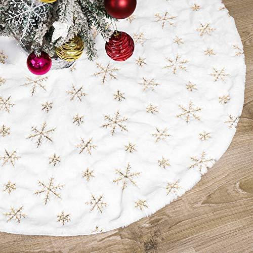 Alfombra de árbol de Navidad Falda Árbol de Navidad blanco Funda de...