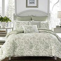 Laura Ashley Natalie 7-Piece Green Floral Cotton Full/Queen Comforter Set