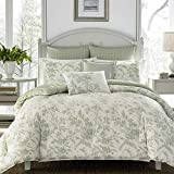 Laura Ashley Home - Natalie Collection - 7pc Luxury Ultra Soft Comforter, All Season Premium Bedding Set, Stylish Delicate Design for Home Décor, Queen, Sage