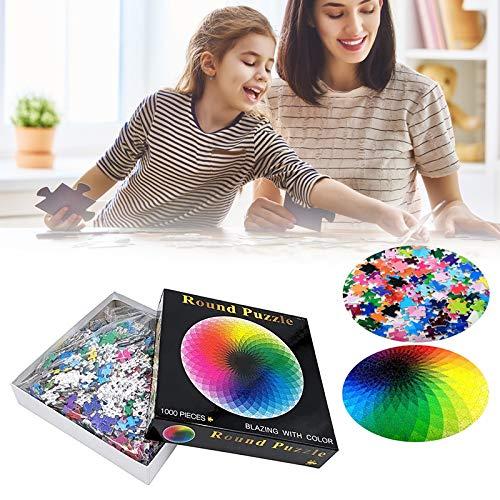 Vtops 1000 pezzi cerchio arcobaleno puzzle, adulti e bambini intellettuale gioco sfumato puzzle RGB tavolozza rotonda puzzle colore sfida giocattolo
