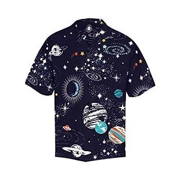 InterestPrint Men s Casual Button Down Short Sleeve Cartoon Space Galaxy Hawaiian Shirt L