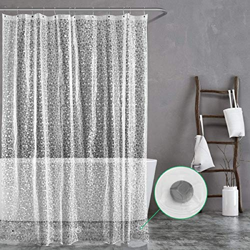 Carttiya Duschvorhang Transparent 180x240 Shower Curtains Duschvorhänge Anti-Schimmel Badevorhang - Wasserdichter Badezimmervorhang mit 12 Edelstahlhaken und Beschwertem Saum