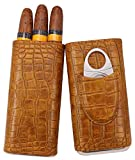 AMANCY 3- Finger Premium Vintage Brown Leather Travel Cigar Case with Cedar Wood Lined, Included Stainless Steel Cigar Cutter