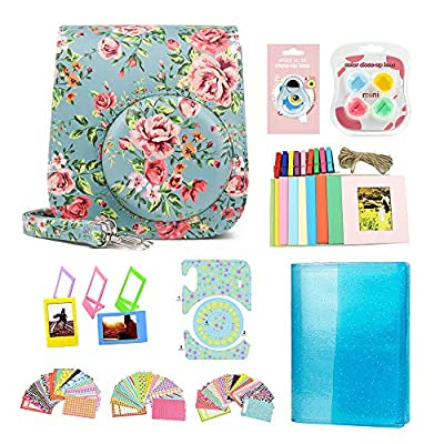 CAIYOULE Accessories Bundle Compatible with Fujifilm Instax Mini 11 Instant Film Camera for Kids Include case + Photo Album + Accessories kit (Blue Rose)