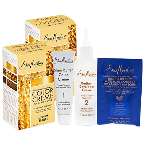 Shea Moisture Medium Blonde Hair Color Set - 2 Pack Bundle Shea Moisture Hair Color Kit (2 Applications)