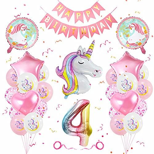 Einhorn Geburtstagsdeko 4 Jahre, Geburtstagsdeko Mädchen 4 Jahre, Banydoll Einhorn Deko Kindergeburtstag, Luftballon 4 Geburtstag Mädchen, Geburstag Deko Mädchen 4 Jahre Rosa