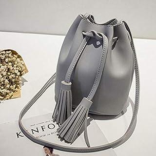 YKDY Shoulder Bag Fringed Bags for Women Drawstring Buckets Single Women Messenger Bag(Black) (Color : Gray)